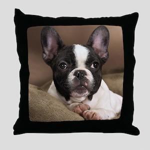F pup panel print Throw Pillow