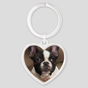 F pup panel print Heart Keychain