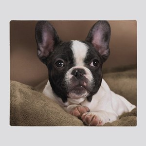 F pup panel print Throw Blanket