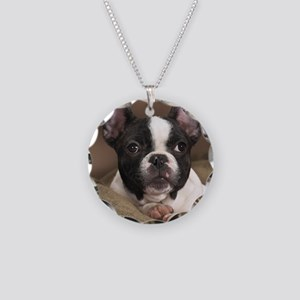 F pup panel print Necklace Circle Charm