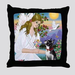 Angel Love - Boston Terrier (8x10) Throw Pillow