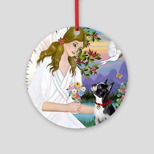 Angel Love - Boston Terrier (8x10) Round Ornament
