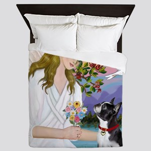Angel Love - Boston Terrier (8x10) Queen Duvet