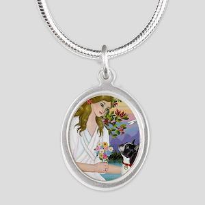 Angel Love - Boston Terrier ( Silver Oval Necklace