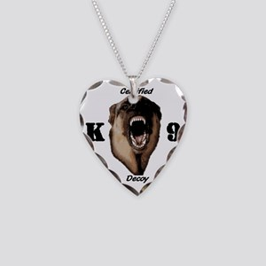 CK9D with dog  FRONT AND BACK Necklace Heart Charm