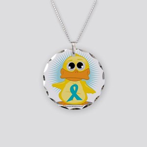 New-Teal-Ribbon-Duck Necklace Circle Charm