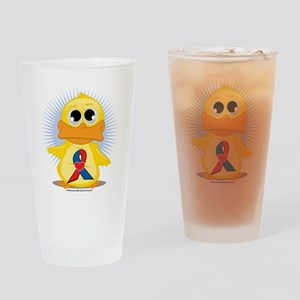 Red--Blue-w-Heart-Ribbon-Duck Drinking Glass