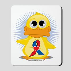 Red--Blue-w-Heart-Ribbon-Duck Mousepad