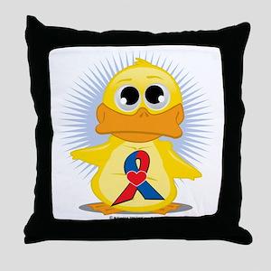 Red--Blue-w-Heart-Ribbon-Duck Throw Pillow