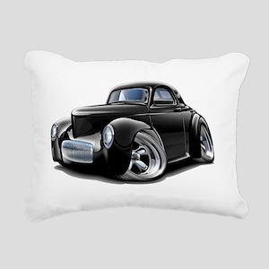 1941 Willys Black Car Rectangular Canvas Pillow
