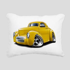 1941 Willys Yellow Car Rectangular Canvas Pillow