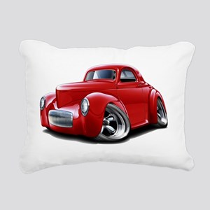 1941 Willys Red Car Rectangular Canvas Pillow
