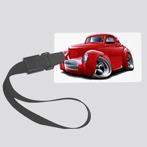 1941 Willys Red Car Large Luggage Tag