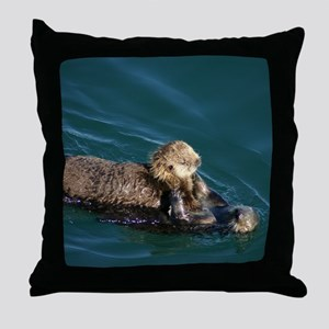 Otter Mother & Pup Throw Pillow