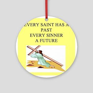 funny jesus god savior church joke Ornament (Round
