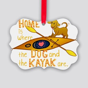 HOMEkayakDOGdark Picture Ornament