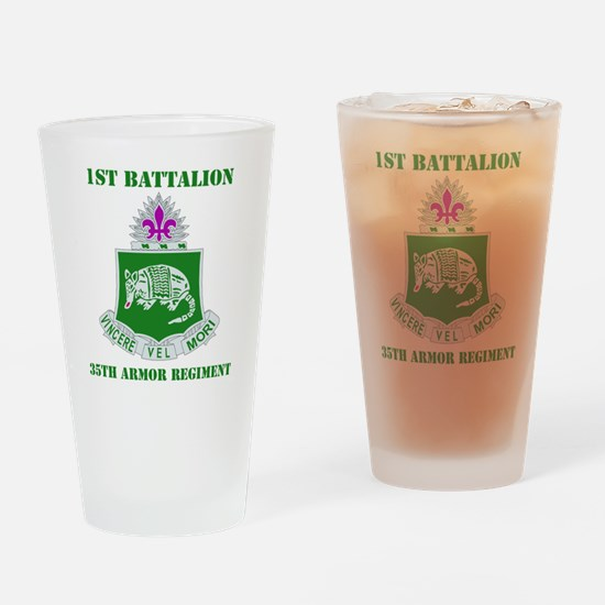 35TH ARMOR RGT WITH TEXT Drinking Glass
