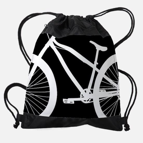 Black and White Bike Drawstring Bag