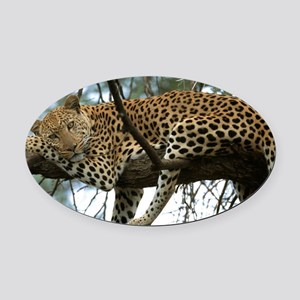 Leo Tree panel print Oval Car Magnet
