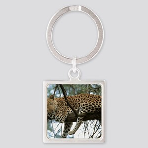 Leo Tree panel print Square Keychain
