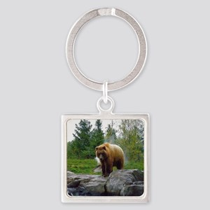Grizzly Square Keychain