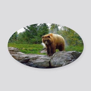 Grizzly Oval Car Magnet