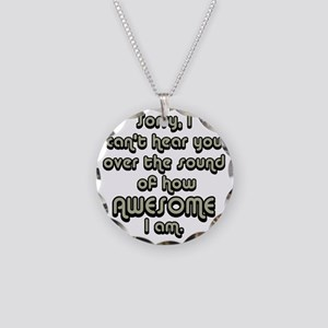 sorryicanthearyougrayblack Necklace Circle Charm