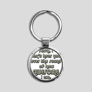 sorryicanthearyougrayblack Round Keychain