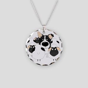 BorderCollieHerdingDark Necklace Circle Charm