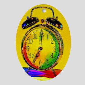 technicolor_clock Oval Ornament