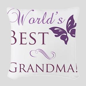 Butterfly_Grandma Woven Throw Pillow