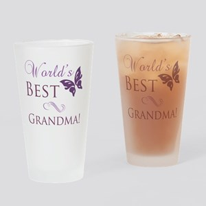 Butterfly_Grandma Drinking Glass