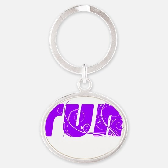 p_runlg_white Oval Keychain