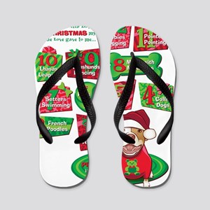 12 Dogs of Christmas Flip Flops