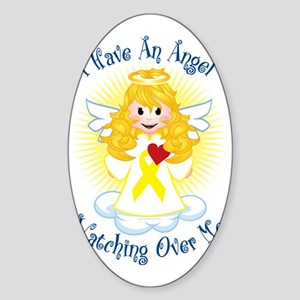Angel-Watching-Over-Me-Yellow-Ribbo Sticker (Oval)