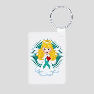 Angel-Watching-Over-Me-Tea Aluminum Photo Keychain