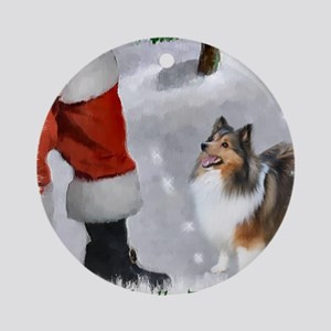 santas sheltie apparel Round Ornament
