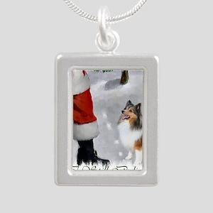 santas sheltie apparel Silver Portrait Necklace