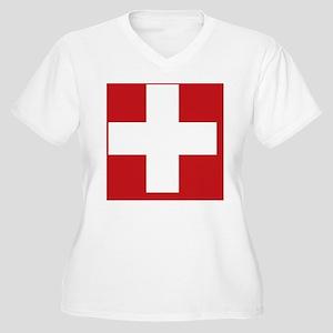 swiss-flag_sb Women's Plus Size V-Neck T-Shirt