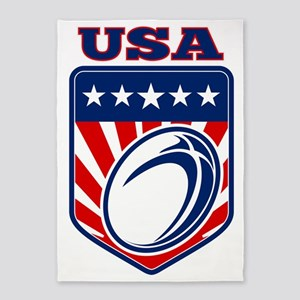 American rugby ball shield USA 5'x7'Area Rug