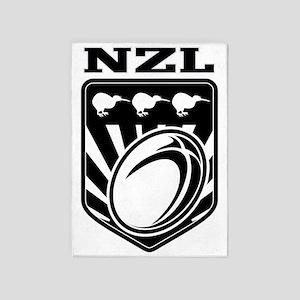 rugby ball kiwi shield new zealand 5'x7'Area Rug