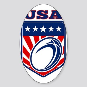 American rugby ball shield USA Sticker (Oval)