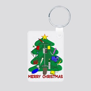 Merry Christmas Medical Aluminum Photo Keychain