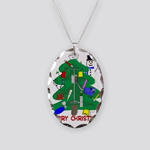 Merry Christmas NURSE TREE Necklace Oval Charm