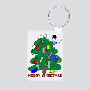Merry Christmas NURSE TREE Aluminum Photo Keychain
