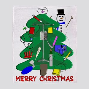 Merry Christmas NURSE TREE Throw Blanket