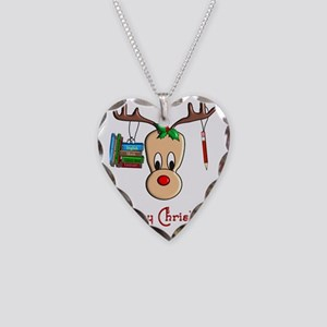 Reindeer Teacher Necklace Heart Charm