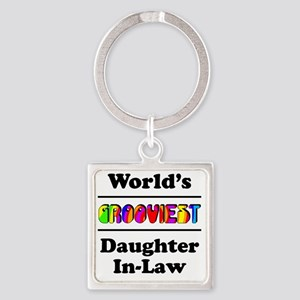 Grooviest_Daughter-In-Law Square Keychain
