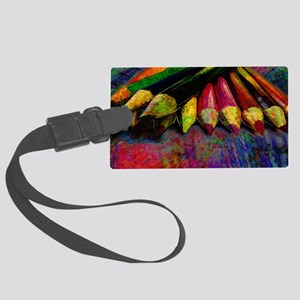 geo_lights_Colored_pencils copy Large Luggage Tag