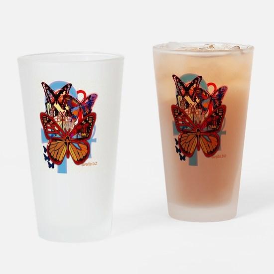 ankh butterflies yoga mat copy Drinking Glass